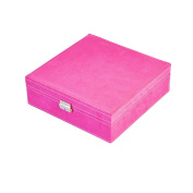 NirongLavie 2-layer Square-shaped Jewellery Box Suede Jewellery Organiser Storage with Lock