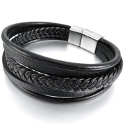 MunkiMix Stainless Steel Genuine Leather Bracelet Bangle Cuff Black Silver Tone Brown Braided Magnetic Clasp Men