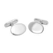 9ct White Gold Engravable Oval Swivelback Cufflinks