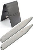 COLLAR AND CUFFS LONDON - PLATINUM PLATED High Quality Collar Stiffeners - With Presentation Gift Wallet - Shirt Accessories - 63mm - One pair