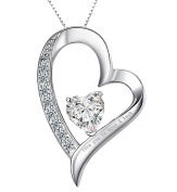 """"""" LOVE YOU TO MOON AND BACK """" Letter White Gold Plated Silver Colour Free Gift Box Heart Shape Cubic Zircon Zirconia Set Pendant Necklace Gifts Present For Women Mum Girls Friend Birthday"""