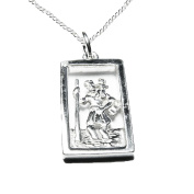 925 Sterling Silver St Christopher Oblong Pendant and Curb Chain - Traveller's Protection
