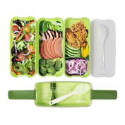 Monsiter 3 Compartments Bento Boxes Including Spoon Portable Microwaveable Food Storage for Students-Green