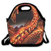 Waterproof Lunch Bag Amazing Fire Dragon Art With Zipper And Adjustable Strap Lunch Tote Box Hand Bag Picnic Boxes Travel Food and Meal Bags Backpack