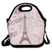 Waterproof Lunch Bag Pink Paris Stamps Pattern Eiffel Tower With Zipper And Adjustable Strap Lunch Tote Box Hand Bag Picnic Boxes Travel Food and Meal Bags Backpack