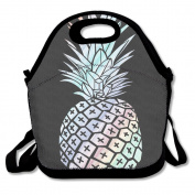 Waterproof Lunch Bag Pineapple Fruit Hawaiian With Zipper And Adjustable Strap Lunch Tote Box Hand Bag Picnic Boxes Travel Food and Meal Bags Backpack