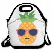 Waterproof Lunch Bag Pineapple With Sunglasses With Zipper And Adjustable Strap Lunch Tote Box Hand Bag Picnic Boxes Travel Food and Meal Bags Backpack