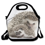 Waterproof Lunch Bag Animal Mom And Baby Hedgehog With Zipper And Adjustable Strap Lunch Tote Box Hand Bag Picnic Boxes Travel Food and Meal Bags Backpack
