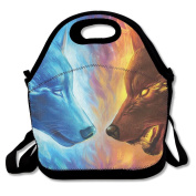 Waterproof Lunch Bag Cool Fire Ice Wolf With Zipper And Adjustable Strap Lunch Tote Box Hand Bag Picnic Boxes Travel Food and Meal Bags Backpack