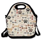 Waterproof Lunch Bag Dog Bones & Paw Prints Cream With Zipper And Adjustable Strap Lunch Tote Box Hand Bag Picnic Boxes Travel Food and Meal Bags Backpack