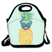 Waterproof Lunch Bag Pug Pineapple With Sunglasses With Zipper And Adjustable Strap Lunch Tote Box Hand Bag Picnic Boxes Travel Food and Meal Bags Backpack