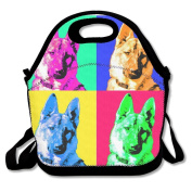 Waterproof Lunch Bag German Shepherd Pop Art With Zipper And Adjustable Strap Lunch Tote Box Hand Bag Picnic Boxes Travel Food and Meal Bags Backpack