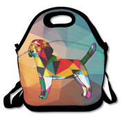 Waterproof Lunch Bag Funny Fashion Cute Beagle Dog With Zipper And Adjustable Strap Lunch Tote Box Hand Bag Picnic Boxes Travel Food and Meal Bags Backpack