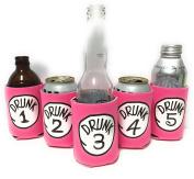 "Funny Neoprene Can Koozie/Coolers ""Drunk 2.5cm - 13cm Set - Hot Pink"