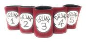 "Funny Neoprene Can Koozie/Coolers ""Drunk 2.5cm - 13cm Set - Red"