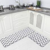 Carvapet 2 Pieces Microfiber Chevron Non-Slip Soft Kitchen Mat Bath Rug Doormat Runner Carpet Set, 43cm x 120cm +43cm x 60cm , Grey