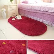 Ustide Soft Shag Oval Rugs High Pile Throw Rugs Anti-Skid Floor Rugs Carpets for Living Room, Burgandy