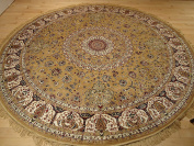Persian Silk Gold Round Rug 6x6 Circle Shape Rugs Floor Carpet Living Room Round Silk Area Rugs Entrance Round Shape Rug