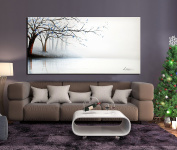 ARTLAND Hand-painted 60cm x 120cm 'Fog River' Gallery-wrapped Landscape Oil Painting on Canvas Wall Art Set