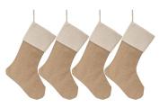 Set of 4 Christmas Stocking Large Size Plain Burlap Stocking Christmas Decor