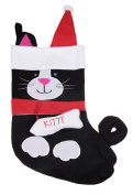 Soft Plush Cloth Hanging Christmas Stocking | For Kids, Teens, Adults | Black and White Kitty Cat Holiday Decor Theme | Perfect for Small Gifts, Stocking Stuffers, & Candy | Measures 43cm Tall