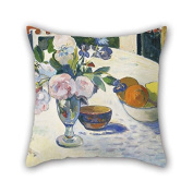 18 X 18 Inches / 45 By 45 Cm Oil Painting Paul Gauguin - Flowers And A Bowl Of Fruit On A Table Pillowcase Double Sides Ornament And Gift To Wife Father Dining Room Monther Seat Relatives