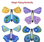 MALS 4 x Hotoy Fluttering Flying Butterfly, Surprise Your friends When they open thier Cards
