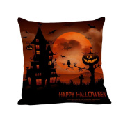Pillow Case,SUPPION Happy Halloween Pillow Cases Linen Sofa Letter Cushion Cover Home Decor (12 kinds of patterns)