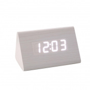 Creative Novelty Clock, Lotus.flower Temperature Display Sounds Control Electronic LED Alarm Clock Wooden Calendar USB Charger