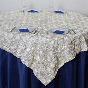 Efavormart Wonderland Rosette Table Overlay 220cm x 220cm - Ivory