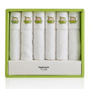 BAMBOOKIDS Soft Baby Bath Towels, Organic Toddler Washcloths(6 Pack), 100% Bamboo Fibre for Infants' Sensitive Skin, 25cm ×28cm White