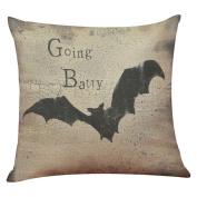 ✿Moseâ . !Happy Halloween Square Decorative Throw Pillow Case Cushion Cover Bat Pumpkin