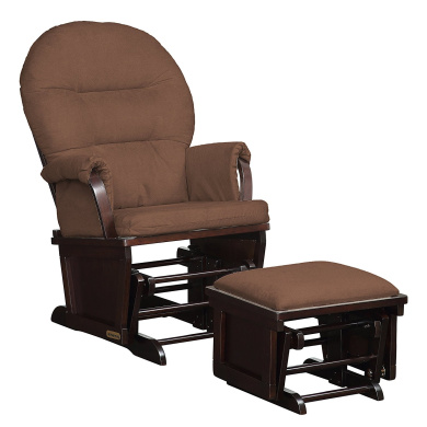 Shermag Contemporary Style Glider Rocker and Ottoman, Espresso with Chocolate