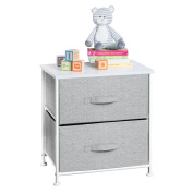 mDesign Fabric Baby 2-Drawer Dresser and Storage Organiser Unit for Nursery, Bedroom, Play Room - Grey