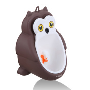 Foryee Cute Owl Potty Training Urinal for Boys with Funny Aiming Target and Water Pipe - Coffee