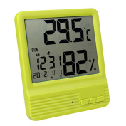 A.B Crew Large LCD Screen Digital Thermometer Hygrometer with Alarm Clock Date Week Ultra Thin Indoor Humidity Monitor Temperature Sensor, Green