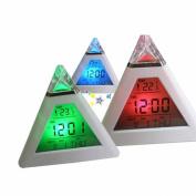Voberry New Fashion Pyramid Temperature 7 Colours LED Change Backlight LED Alarm Clock