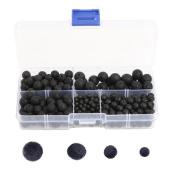 Set of 300 Pcs Multi-size Mixed Black Lava Stone Loose Beads - 1 Box Round Lava Rock Beads for DIY Handmade Beaded Bracelet Necklace