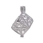 10pcs Cube Pearl Cage Bright Silver Beads Cage Locket Pendant Jewellery Making--For Oyster Pearls, Essential Oil Diffuser, Fun Gifts