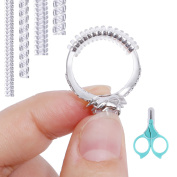 20 PCS Ring Size Adjuster for Loose Rings with Baby Safety Scissor , 4 Sizes Clear Sizer