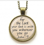 Jesus necklace, for the lord your god is with you wherever you go necklace, Glass Photo Christian necklace