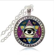 Ouija Board Pendant Necklace, Illuminati Psychic Palm Reader Spirit Jewellery, Wisdom Eye Pentagram Necklace