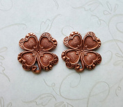 Rose Gold Ox Shamrocks (2) - RGRAT3730 Jewellery Finding