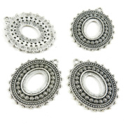 Price per 80 Pieces Antique Silver Tone Jewellery Making Charms Supply T5DR3 Oval Cabochon Base Blank