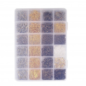 Paxcoo 2880 Pcs Jewellery Making Findings Supplies Kit with Open Jump Rings, Lobster Clasps, Cord Ends, Ribbon Ends, Crimp Beads, Screw Eye Pins, Head Pins, Earing Hooks and Earing Backs