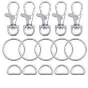 BronaGrand 100 Pieces Metal Swivel Lanyard Snap Hook with Key Rings and D rings bulk