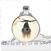 Fashion Little Bat Pendant Necklace ,Halloween Bat Jewellery, Glass Dome Animal Necklace