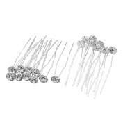 Casa De Novia Jewellery Bridal Flower White Crystal Wedding Hair Pins Clips Accessories Pack of 20pcs