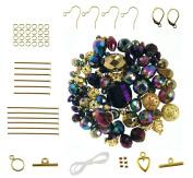 Purple & Gold Metallic Mixed Bead & Findings Kit ~