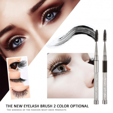 Eyelash brush,Putars Fashion 1PC High Quality Crystal Eyelash Brush Mascara Wands Applicator Spoolers Makeup (Black)